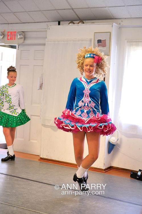 Irish step dancers from the Hagen School of Irish Dance, entertaining at barbecue hosted by Merrick Post #1282 of American Legion for veterans from New York State Nursing Home at Stony Brook NY, on August 13, 2011, in Merrick, New York, United States. Photo © 2011 Ann Parry, All rights reserved. Ann-Parry.com