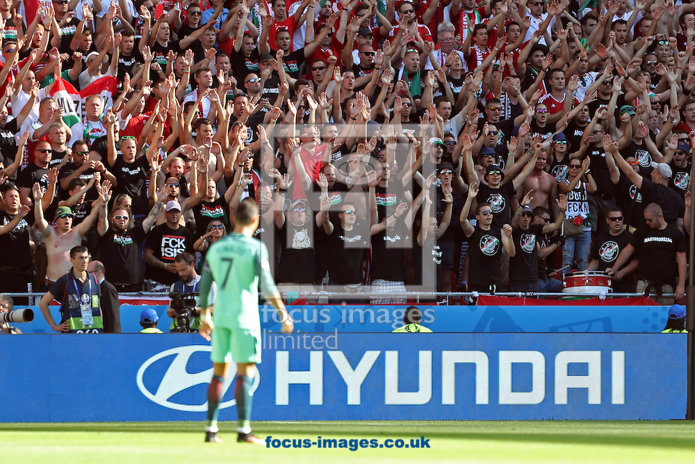 Cristiano Ronaldo of Portugal looks at the Hungary fans during the UEFA Euro 2016 match at Stade de Lyons, Lyons<br /> Picture by Paul Chesterton/Focus Images Ltd +44 7904 640267<br /> 22/06/2016