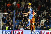 Brighton striker (on loan from Manchester United), James Wilson (21) wins the ball in the air during the Sky Bet Championship match between Brighton and Hove Albion and Ipswich Town at the American Express Community Stadium, Brighton and Hove, England on 29 December 2015. Photo by Phil Duncan.