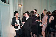 TIM NOBLE; HARPER SIMON; ; MALIN JEFFERIES, Dinner to mark 50 years with Vogue for David Bailey, hosted by Alexandra Shulman. Claridge's. London. 11 May 2010 *** Local Caption *** -DO NOT ARCHIVE-&copy; Copyright Photograph by Dafydd Jones. 248 Clapham Rd. London SW9 0PZ. Tel 0207 820 0771. www.dafjones.com.<br /> TIM NOBLE; HARPER SIMON; ; MALIN JEFFERIES, Dinner to mark 50 years with Vogue for David Bailey, hosted by Alexandra Shulman. Claridge's. London. 11 May 2010