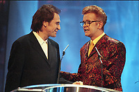 Ray Davies of the Kinks and Chris Evans host of The BRIT Awards 1995 <br /> Monday 20 Feb 1995.<br /> Alexandra Palace, London, England<br /> Photo: JM Enternational