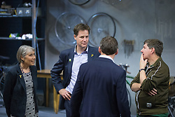 "© Licensed to London News Pictures . 03/07/2014 . Leeds , UK . The Deputy Prime Minister , NICK CLEGG MP , on the stage during a tour of the West Yorkshire Playhouse in Leeds today (Thursday 3rd July 2014) meeting the cast of "" Beryl "" . The Liberal Democrat leader and MP for Sheffield Hallam meets cast and crew of production of Maxine Peake's "" Beryl "" based on the life of Beryl Burton , pioneering woman cyclist . Photo credit : Joel Goodman/LNP"