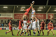 Toulouse win line out ball during the European Rugby Challenge Cup match between Sale Sharks and Toulouse at the AJ Bell Stadium, Eccles, United Kingdom on 13 October 2017. Photo by George Franks.