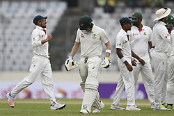 August 28, 2017 - Mirpur, Bangladesh - Australian captain Stiven Smithleaving the field after his dismissal by Mahedi Hasan Miraj   during day two of the First Test match between Bangladesh and Australia at Shere Bangla National Stadium on August 28, 2017 in Mirpur, Bangladesh. (Credit Image: © Ahmed Salahuddin/NurPhoto via ZUMA Press)