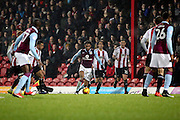 Aston Villa defender Jordan Amavi (23) dribbling trying to set up an attack during the EFL Sky Bet Championship match between Brentford and Aston Villa at Griffin Park, London, England on 31 January 2017. Photo by Matthew Redman.
