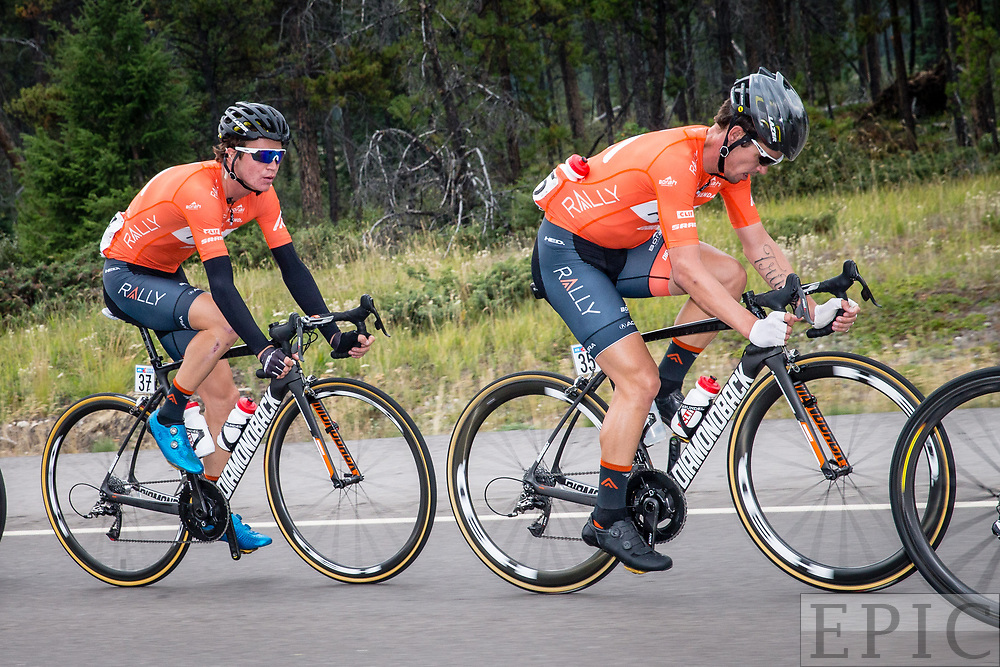 JASPER, ALBERTA, CAN - September 1: Evan Huffman (Rally Cycling) leads teammate Sepp Kuss (Rally Cycling) in the break during stage 1 of the Tour of Alberta on September 1, 2017 in Jasper, Canada. (Photo by Jonathan Devich)