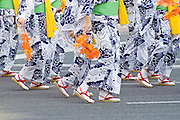 Dancers wearing kimono in a dance display during the Nagoya festival.