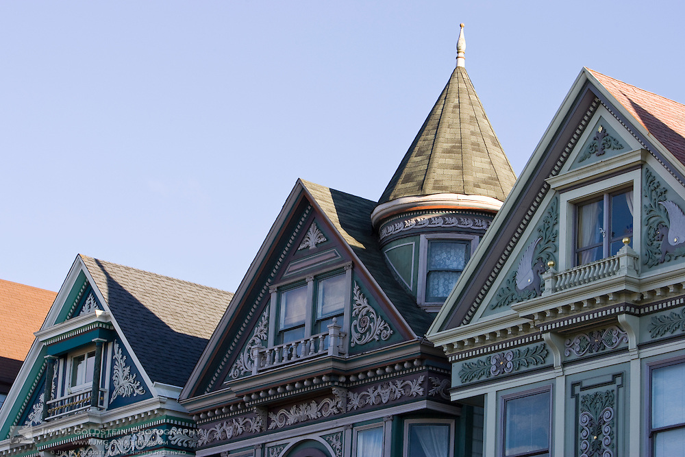 Architectural detail and windows in the Haight Ashbury neighborhood of San Francisco