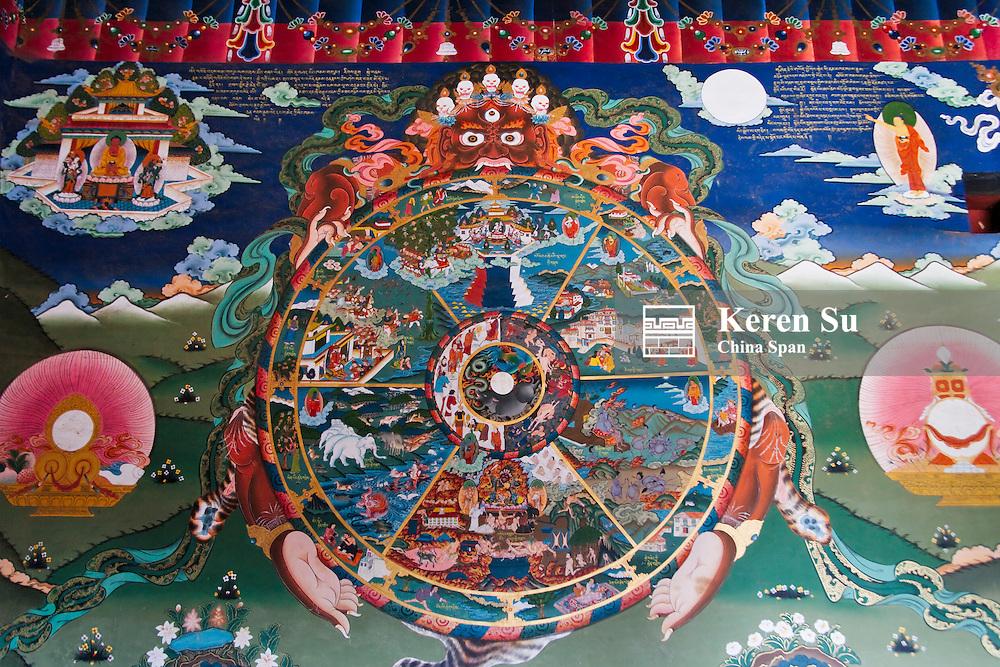 Buddhist mural, Trongsa Dzong, Bhutan