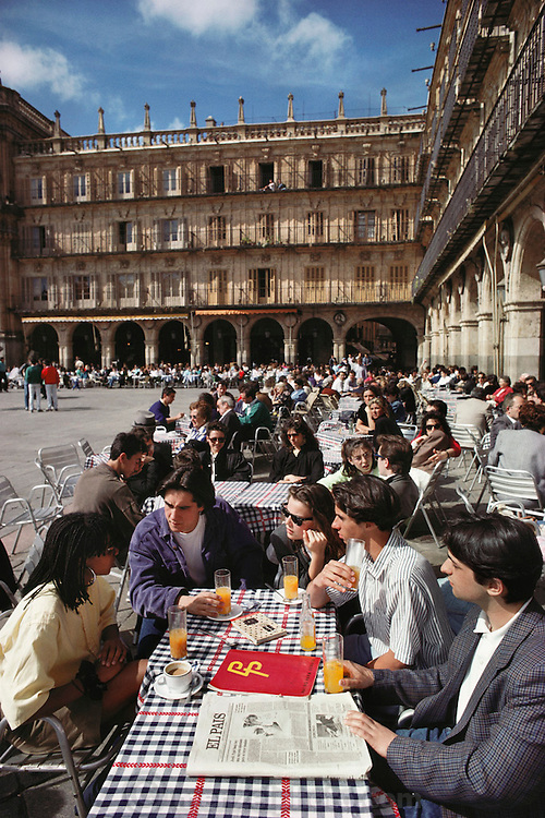 Cafes in the Plaza Mayor, Salamanca, Spain.