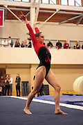 January 24, 2010; Stanford, CA, USA; Stanford Cardinal gymnast Tenaya West performs on the floor during the meet against the UCLA Bruins at Burnham Pavilion. The Cardinal defeated the Bruins 196.43-195.83. Mandatory Credit: Kyle Terada-Terada Photo