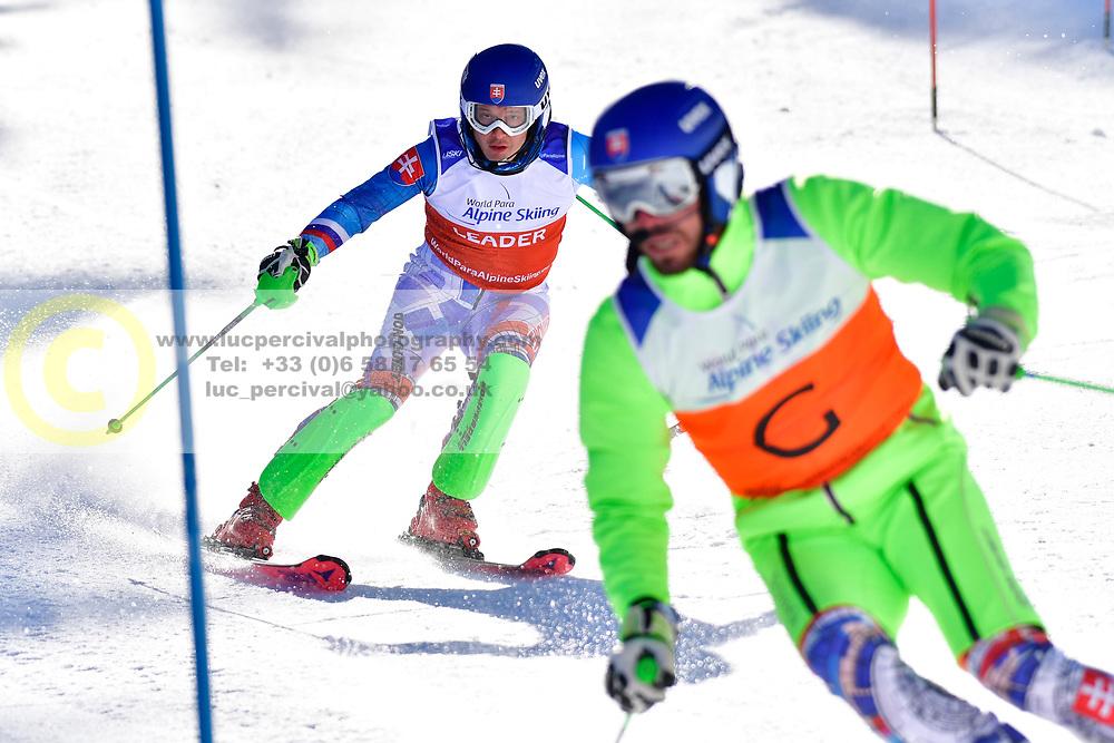 HARAUS Miroslav, Guide: HUDIK Maros, B2, SVK, Slalom at the WPAS_2019 Alpine Skiing World Cup Finals, Morzine, France