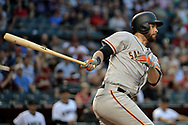PHOENIX, AZ - APRIL 04:  Brandon Belt #9 of the San Francisco Giants grounds out in the first inning against the Arizona Diamondbacks at Chase Field on April 4, 2017 in Phoenix, Arizona. The San Francisco Giants won 8-4.  (Photo by Jennifer Stewart/Getty Images)