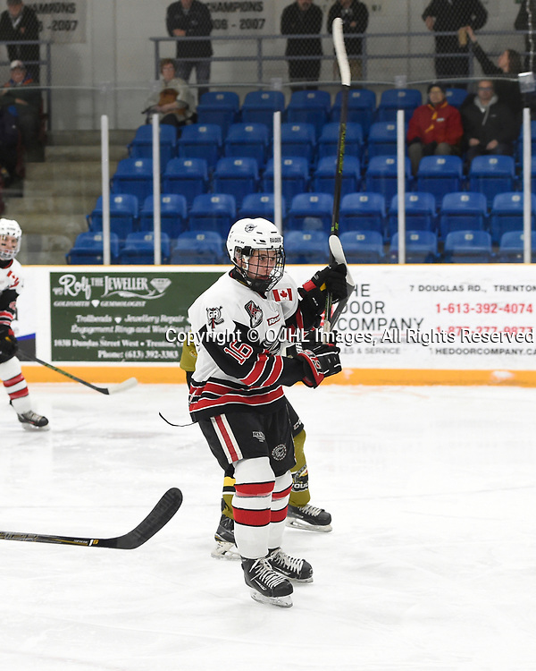TRENTON, ON  - MAY 4,  2017: Canadian Junior Hockey League, Central Canadian Jr. &quot;A&quot; Championship. The Dudley Hewitt Cup. Game 5 between Powassan Voodoos and the Georgetown Raiders. Jack Hughes #16 of the Georgetown Raiders battles for control during the first period.<br /> (Photo by Andy Corneau / OJHL Images)