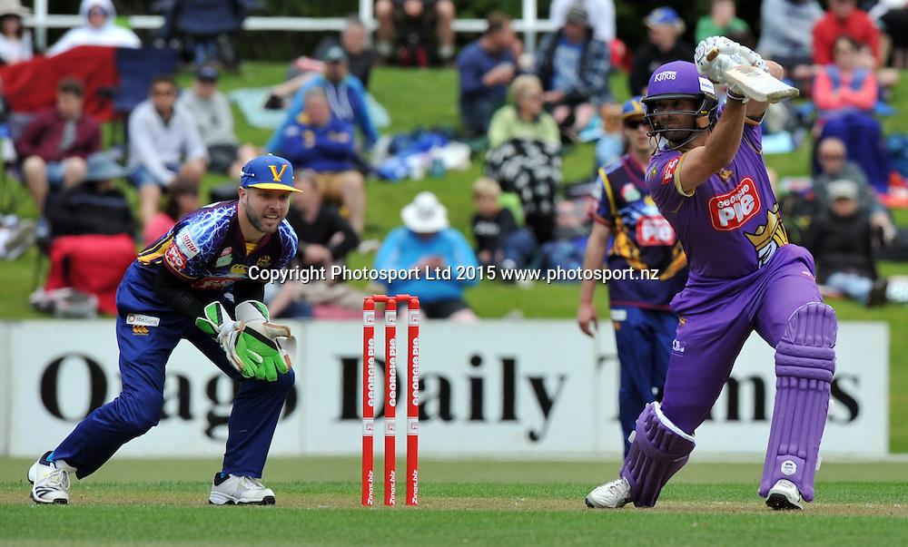 Canterbury Kings Andrew Ellis bats in the Georgie Pie Super Smash Twenty20 cricket match between the Otago Volts v Canterbury Kings held at the University Oval, Dunedin. 29 November 2015.