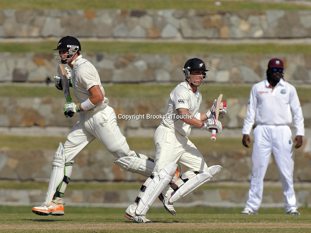 Martin Guptill and Brendon McCullum partner up 100 - Day 4 of the first test West Indies v New Zealand at Sir Vivian Richards Stadium, Antigua, West Indies.<br /> 28 July 2012. Photo;Randy Brooks/Photosport.co.nz