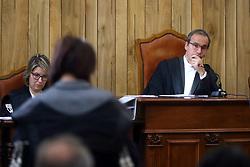 GIUDICE VARTAN GIACOMELLI ASCOLTA IL PM BARBARA CAVALLO<br /> UDIENZA PROCESSO FALLIMENTO BANCA CASSA DI RISPARMIO DI FERRARA CARIFE