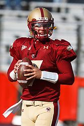 November 20, 2010; Chestnut Hill, MA, USA;  Boston College Eagles quarterback Chase Rettig (7) warms up before the game against the Virginia Cavaliers at Alumni Stadium.  Boston College defeated Virginia 17-13.