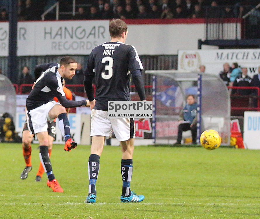 Dundee v Dundee United Scottish Premiership 2 January 2016; Nick Ross (Dundee, 17) scores from outside the box during the Dundee v Dundee United Scottish Premiership match played at Dens Park Stadium;