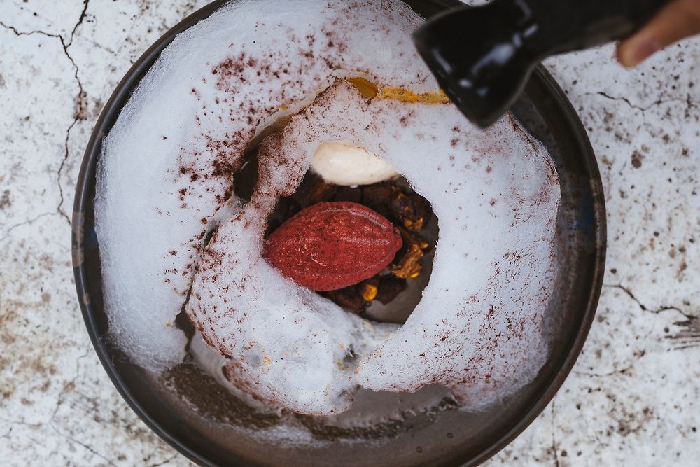 The Cacao Forest dessert--with Earl Grey Bergamot chocolate mousse and vanilla whisky ice cream, surrounded by dusted cotton candy--at Janice Wong Restaurant in Singapore.