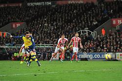 Arsenal's Santi Cazorla scores a penalty - Photo mandatory by-line: Dougie Allward/JMP - Mobile: 07966 386802 - 06/12/2014 - SPORT - Football - Stoke - Britannia Stadium - Stoke City v Arsenal - Barclays Premie League