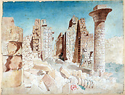 Ruins in the Karnak temple complex at Thebes (Luxor).  Nestor l'Hote (1804-1842) French Egyptologist. Archaeology Religion Mythology Ancient Egyptian