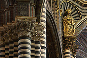 Statue of St Catherine, by Luigi Mussini, 1813-88, and striped marble columns and with carved capitals featuring birds and foliage, in the Duomo di Siena or Siena Cathedral, built 1196-1348 and consecrated in 1215, designed by Giovanni di Agostino, Giovanni Pisano and Camaino di Crescentino, in Siena, Tuscany, Italy. The cathedral has elements of Italian Gothic, Romanesque, and Classical styes and is built from stripes of white and green-black marble. The historic centre of Siena is listed as a UNESCO World Heritage Site. Picture by Manuel Cohen