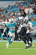 Aug 22, 2019; Miami Gardens, FL USA;  Jacksonville Jaguars wide receiver Keelan Cole (84) catches and readies to return the punt from Miami Dolphins punter Matt Haack (2) while Miami Dolphins defensive back Chris Lammons (30) looks to tackle during an NFL preseason game at Hard Rock Stadium. The Dolphins beat the Jaguars 22-7. (Kim Hukari/Image of Sport)