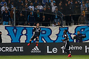 Houssem Aouar of Olympique Lyonnais celebrates scoring during the French Championship Ligue 1 football match between Olympique de Marseille and Olympique Lyonnais on march 18, 2018 at Orange Velodrome stadium in Marseille, France - Photo Philippe Laurenson / ProSportsImages / DPPI
