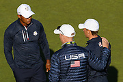 Tiger Woods (Usa), Jim Furyk (captain) and Jordan Spieth during the practice round of Ryder Cup 2018, at Golf National in Saint-Quentin-en-Yvelines, France, September 27, 2018 - Photo Philippe Millereau / KMSP / ProSportsImages / DPPI