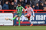 George Francomb midfielder for AFC Wimbledon (7) and Jake Mulraney midfielder for Stevenage FC (29) during the Sky Bet League 2 match between Stevenage and AFC Wimbledon at the Lamex Stadium, Stevenage, England on 30 April 2016. Photo by Stuart Butcher.