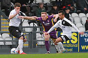 Callum Reynolds, Danny Wright and Danny Woodards during the Vanarama National League match between Boreham Wood and Cheltenham Town at Meadow Park, Boreham Wood, United Kingdom on 9 January 2016. Photo by Antony Thompson.
