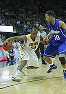 December 17, 2011: Iowa Hawkeyes guard Bryce Cartwright (24) tries to get around Drake Bulldogs forward Jeremy Jeffers (10) during the the NCAA basketball game between the Drake Bulldogs and the Iowa Hawkeyes at Carver-Hawkeye Arena in Iowa City, Iowa on Saturday, December 17, 2011. Iowa defeated Drake 82-68.