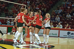 30 September 2006: Redbird players celebrate another point. The Drake Bulldogs opened the match with a decisive win in the 1st game, but struggled in the next 3.  The Illinois State Redbirds took the match 3 games to 1.The match took place at Redbird Arena on the campus of Illinois State University in Normal Illinois.