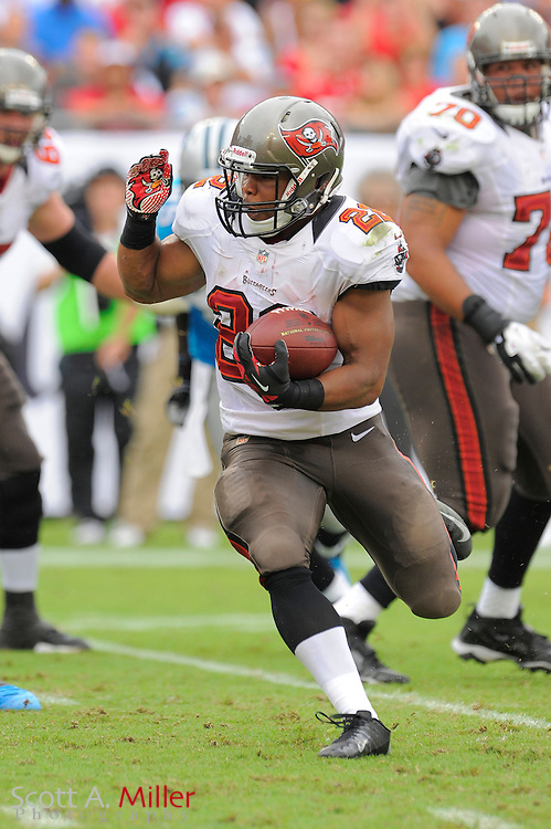 Tampa Bay Buccaneers running back Doug Martin (22) runs upfield during the Bucs game against the Carolina Panthers at Raymond James Stadium  on September 9, 2012 in Tampa, Florida.  The Bucs won 16-10..©2012 Scott A. Miller...