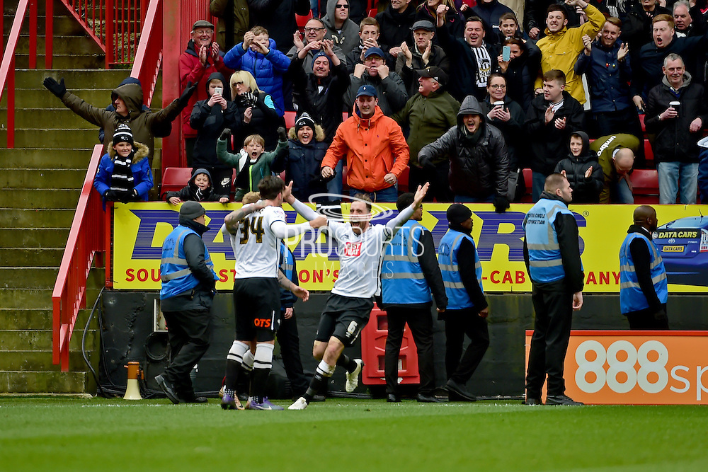Derby Count Captain Richard Keogh celebrates Derby goal during the Sky Bet Championship match between Charlton Athletic and Derby County at The Valley, London, England on 16 April 2016. Photo by Jon Bromley.
