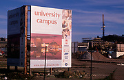 A5EXGA Large signboard on site of future University of Suffolk on former industrial land Ipswich Docks, Suffolk, England. Image shot 2006. Exact date unknown.
