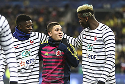 March 23, 2018 - Saint-Denis, Ile-de-France, France - Ousmane Dembele; Juan Fernando Quintero; Paul Pogba; during the friendly football match between France and Colombia at the Stade de France, in Saint-Denis, on the outskirts of Paris, on March 23, 2018. (Credit Image: © Elyxandro Cegarra/NurPhoto via ZUMA Press)