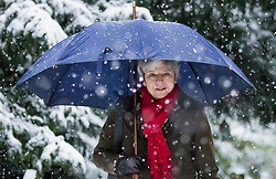 © Licensed to London News Pictures. 10/12/2017. Reading, UK. Prime Minister Theresa May attends church in heavy snow. Photo credit: Peter Macdiarmid/LNP