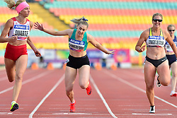 From left to right; Caroline Duarte, POR, Orla Comerford, IRE, Janne Sophie Engeleiter, GER competing in the T13 100m at the Berlin 2018 World Para Athletics European Championships