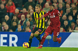 LIVERPOOL, ENGLAND - Wednesday, February 27, 2019: Watford's Roberto Pereyra (L) and Liverpool's Georginio Wijnaldum during the FA Premier League match between Liverpool FC and Watford FC at Anfield. (Pic by Paul Greenwood/Propaganda)