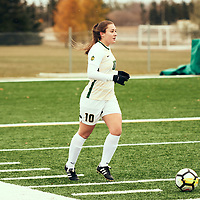 2nd year defender, Lauren Gaudet (10) of the Regina Cougars during the Women's Soccer home game on Sat Oct 13 at U of R Field. Credit: Arthur Ward/Arthur Images