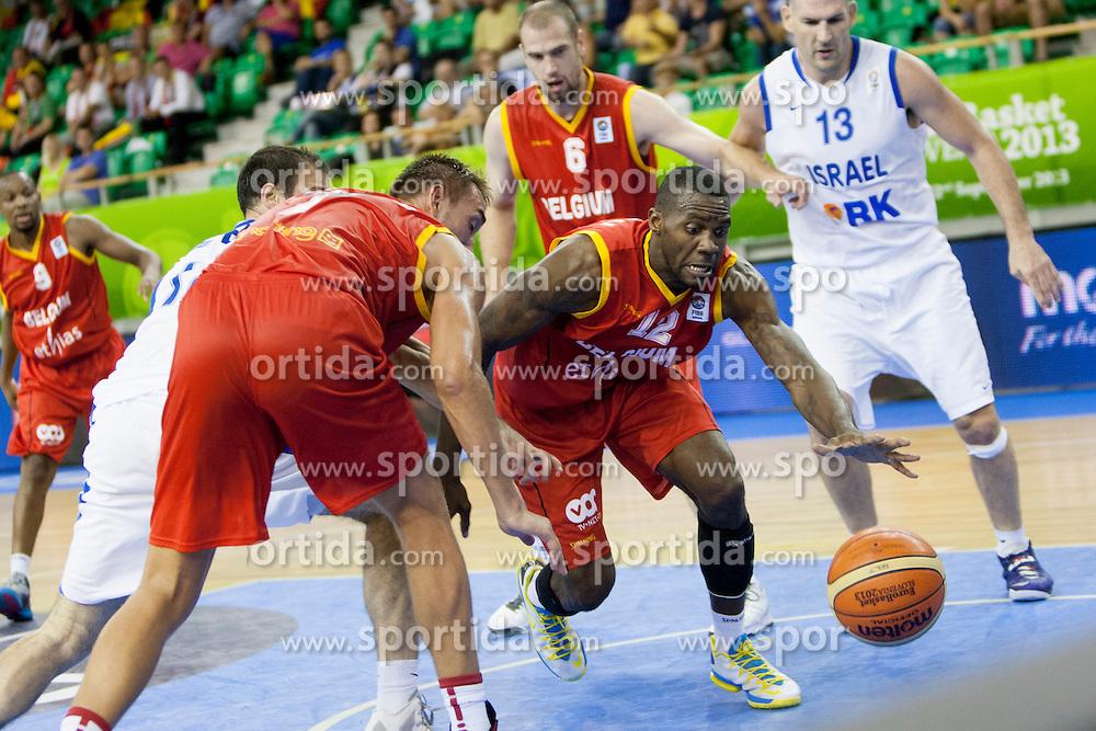 Wen Mukubu #12 of Belgium during basketball match between National teams of Israel and Belgium at Day 5 of Eurobasket 2013 on September 8, 2013 in Tivoli Hall, Ljubljana, Slovenia. (Photo By Urban Urbanc / Sportida)