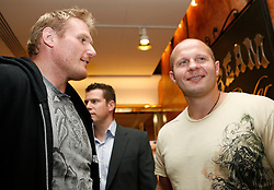 """June 3, 2009; New York, NY, USA; Fedor Emelianenko and Josh Barnett at the press conference announcing their fight at Affliction M-1 Global's """"Trilogy"""".  The two will meet on August 1, 2009 at the Honda Center in Anaheim, CA."""