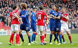 19.03.2017, Riverside Stadium, Middlesbrough, ENG, Premier League, FC Middlesbrough vs Manchester United, 29. Runde, im Bild Middlesbrough and Manchester United players scuffle // Middlesbrough and Manchester United players scuffle during the English Premier League 29th round match between FC Middlesbrough and Manchester United at the Riverside Stadium in Middlesbrough, Great Britain on 2017/03/19. EXPA Pictures &copy; 2017, PhotoCredit: EXPA/ Focus Images/ Simon Moore<br /> <br /> *****ATTENTION - for AUT, GER, FRA, ITA, SUI, POL, CRO, SLO only*****