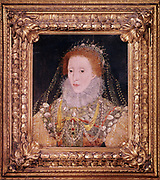 Elizabeth I (1533-1603) Queen of England and Ireland from 1558, last Tudor monarch. Anonymous portrait c1580.