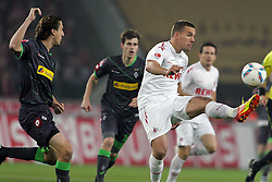 25.11.2011, Rhein Energie Stadion, Koeln, GER, 1.FBL, 1. FC Koeln vs Borussia Moenchengladbach, im BildLukas Podolski (Koeln #10) (R) gegen Roel Brouwers (Mönchengladbach #4) (L) // during the 1.FBL, 1. FC Koeln vs Borussia Moenchengladbach on 2011/11/25, Rhein-Energie Stadion, Köln, Germany. EXPA Pictures © 2011, PhotoCredit: EXPA/ nph/ Mueller *** Local Caption ***..***** ATTENTION - OUT OF GER, CRO *****