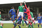 Nathan Collins of Republic of Ireland (5) is challenged by Luka Kacavenda of Bosnia and Herzegovina (1) during the UEFA European Under 17 Championship 2018 match between Bosnia and Republic of Ireland at Stadion Bilino Polje, Zenica, Bosnia and Herzegovina on 11 May 2018. Picture by Mick Haynes.