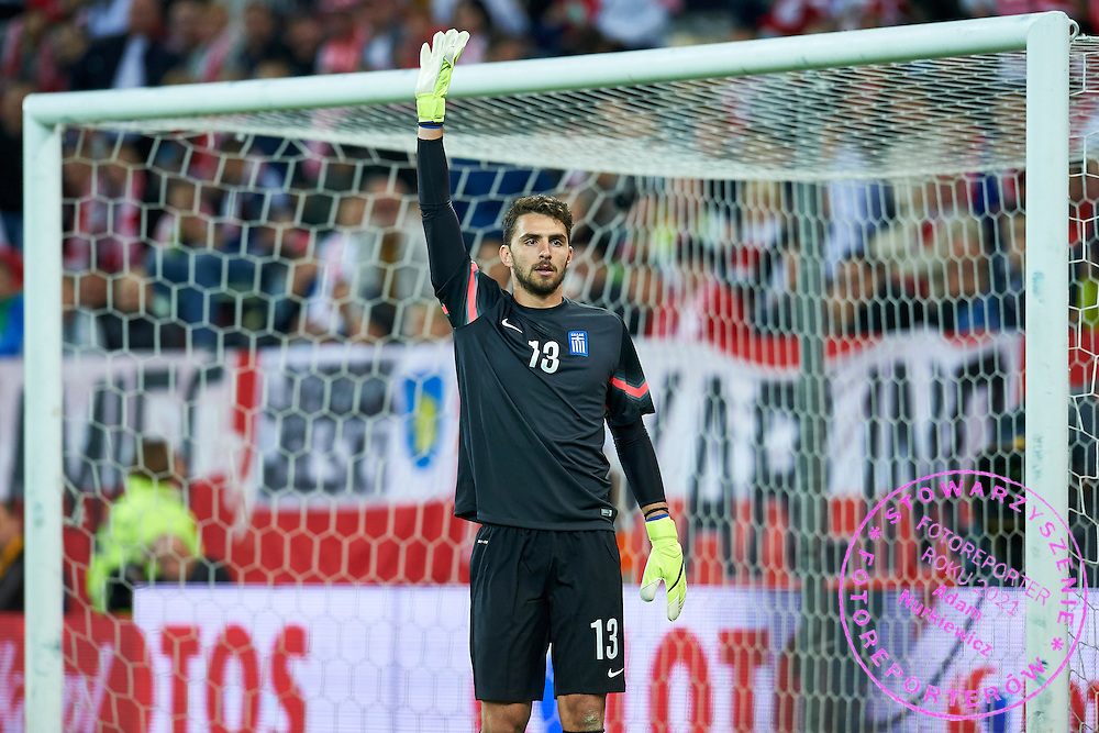 Goalkeeper Stefanos Kapino from Greece gestures during international friendly soccer match between Poland and Greece at PGE Arena Stadium on June 16, 2015 in Gdansk, Poland.<br /> Poland, Gdansk, June 16, 2015<br /> <br /> Picture also available in RAW (NEF) or TIFF format on special request.<br /> <br /> For editorial use only. Any commercial or promotional use requires permission.<br /> <br /> Adam Nurkiewicz declares that he has no rights to the image of people at the photographs of his authorship.<br /> <br /> Mandatory credit:<br /> Photo by &copy; Adam Nurkiewicz / Mediasport