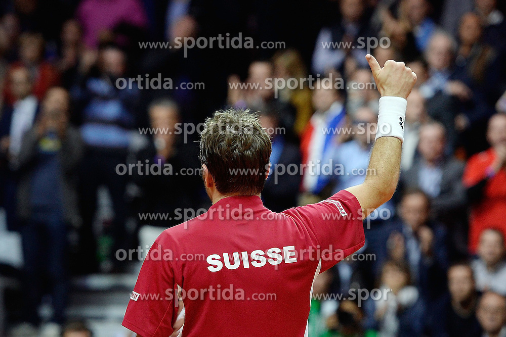 21.11.2014, Stade Pierre Mauroy, Lille, FRA, Davis Cup Finale, Frankreich vs Schweiz, im Bild Stan Wawrinka (SUI) // during the Davis Cup Final between France and Switzerland at the Stade Pierre Mauroy in Lille, France on 2014/11/21. EXPA Pictures &copy; 2014, PhotoCredit: EXPA/ Freshfocus/ Daniela Frutiger<br /> <br /> *****ATTENTION - for AUT, SLO, CRO, SRB, BIH, MAZ only*****